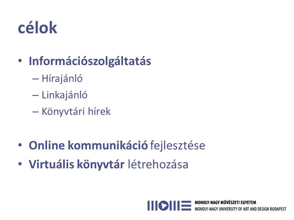 célok • Információszolgáltatás – Hírajánló – Linkajánló – Könyvtári hírek • Online kommunikáció fejlesztése • Virtuális könyvtár létrehozása