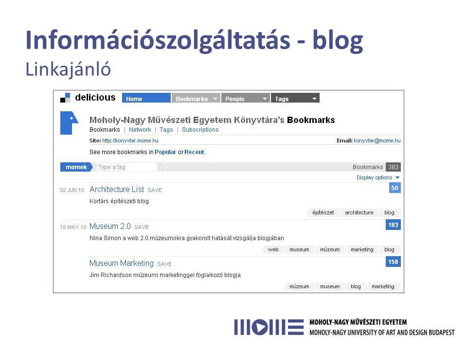 Információszolgáltatás - blog Linkajánló