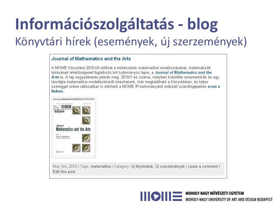 Információszolgáltatás - blog • Hatékony visszakeresés • Több csatornán keresztül