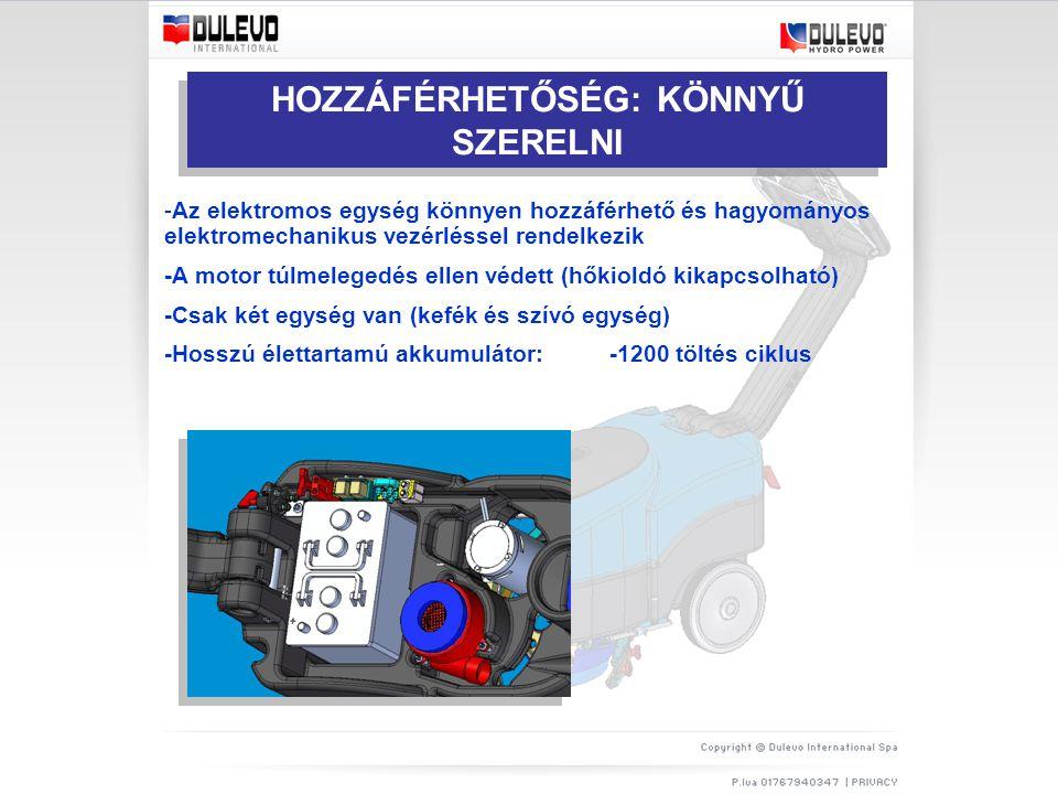 HOZZÁFÉRHETŐSÉG: KÖNNYŰ SZERELNI -Az elektromos egység könnyen hozzáférhető és hagyományos elektromechanikus vezérléssel rendelkezik -A motor túlmelegedés ellen védett (hőkioldó kikapcsolható) -Csak két egység van (kefék és szívó egység) -Hosszú élettartamú akkumulátor: -1200 töltés ciklus