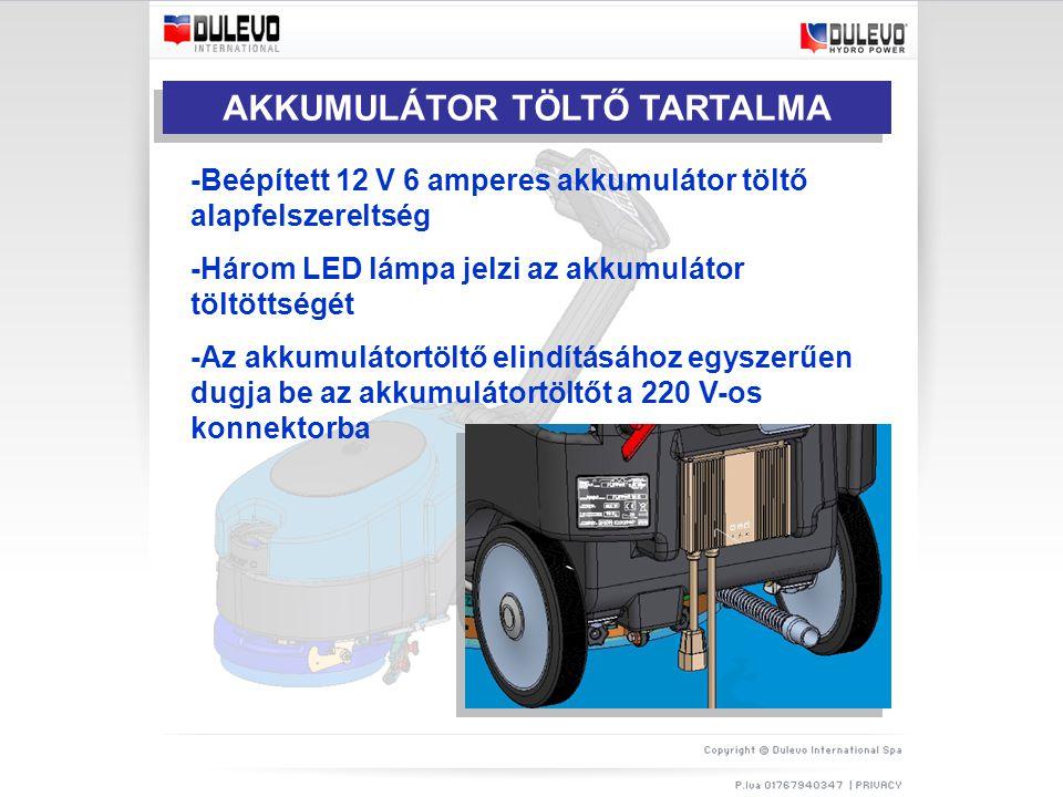 AKKUMULÁTOR TÖLTŐ TARTALMA -Beépített 12 V 6 amperes akkumulátor töltő alapfelszereltség -Három LED lámpa jelzi az akkumulátor töltöttségét -Az akkumulátortöltő elindításához egyszerűen dugja be az akkumulátortöltőt a 220 V-os konnektorba