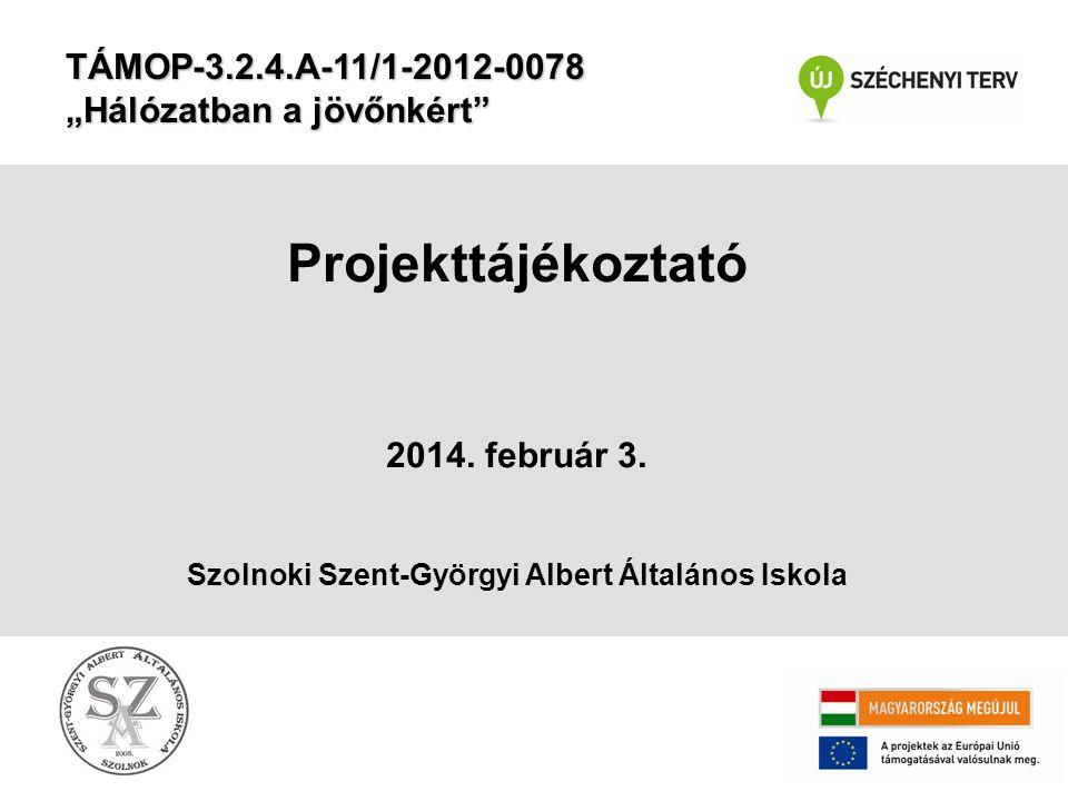 Pályázatunk •A projekt ideje: 2013.04.01.– 2014.06.30.