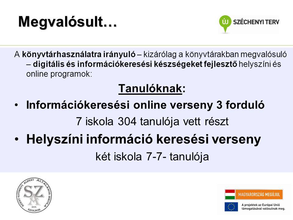 A könyvtárhasználatra irányuló – kizárólag a könyvtárakban megvalósuló – digitális és információkeresési készségeket fejlesztő helyszíni és online pro