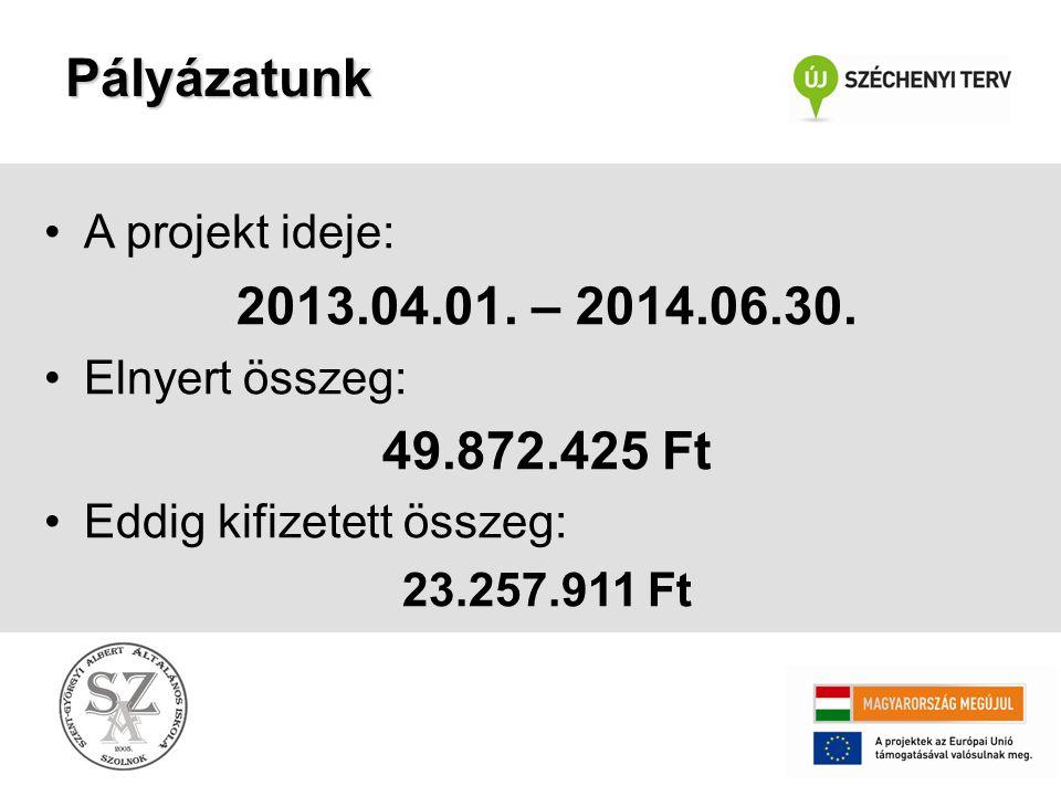 Pályázatunk •A projekt ideje: 2013.04.01. – 2014.06.30. •Elnyert összeg: 49.872.425 Ft •Eddig kifizetett összeg: 23.257.911 Ft
