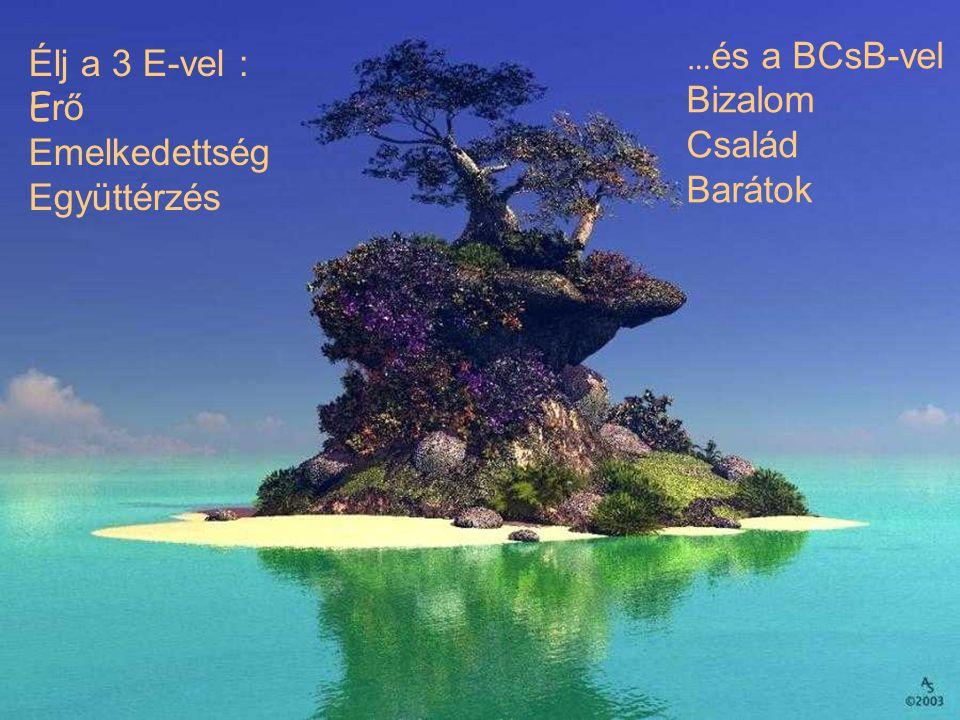 Élj a 3 E-vel : Erő Emelkedettség Együttérzés …és a BCsB-vel Bizalom Család Barátok