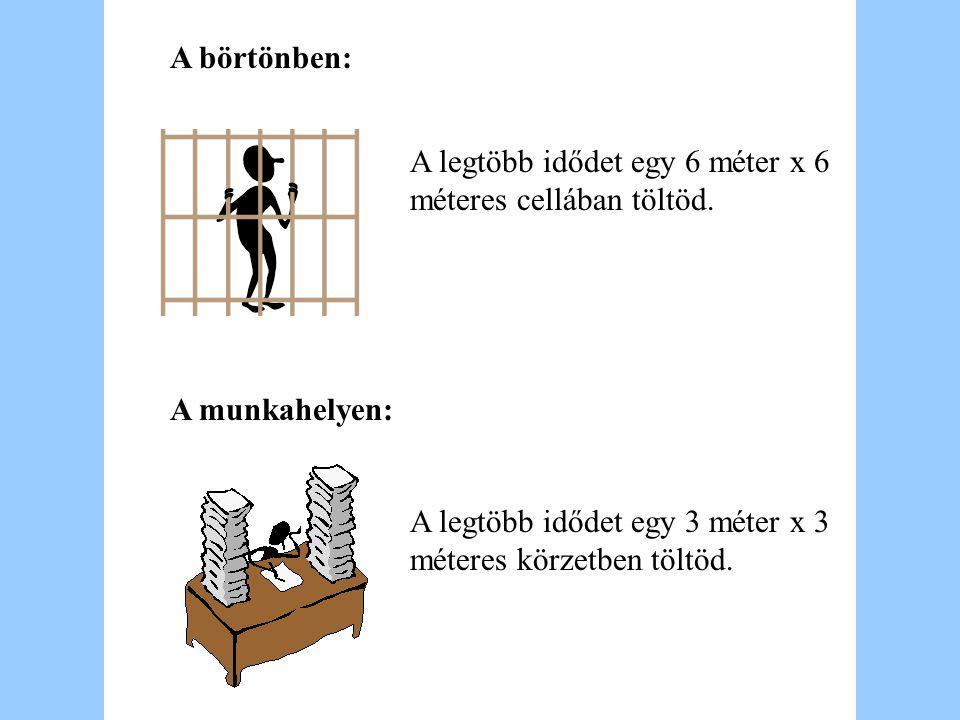 A börtönben: A munkahelyen: A legtöbb idődet egy 6 méter x 6 méteres cellában töltöd. A legtöbb idődet egy 3 méter x 3 méteres körzetben töltöd.