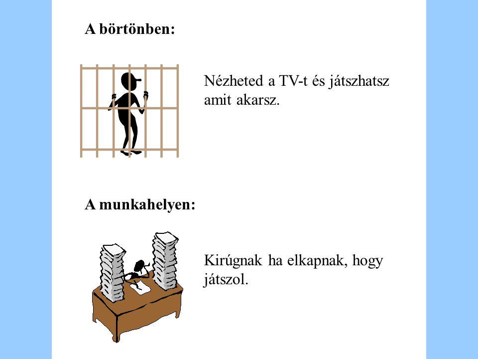A börtönben: A munkahelyen: Nézheted a TV-t és játszhatsz amit akarsz. Kirúgnak ha elkapnak, hogy játszol.