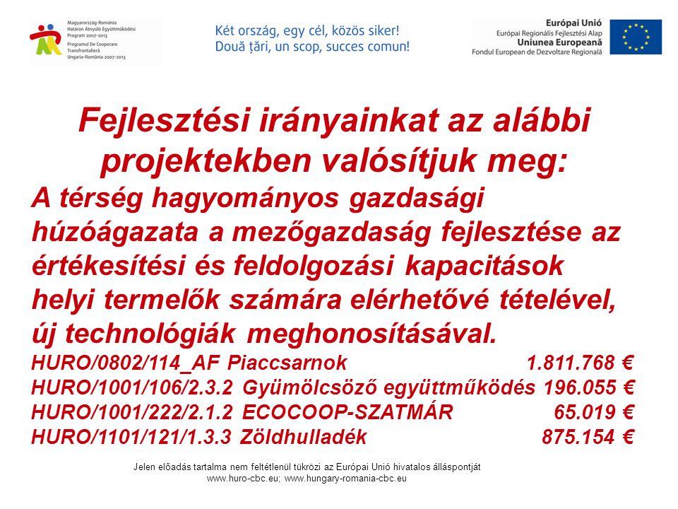 Csengersima Község Önkormányzat Primăria Comunei Csengersima Consult Scolari Egyesület Asociatia Consult Scolari Jelen előadás tartalma nem feltétlenül tükrözi az Európai Unió hivatalos álláspontját www.huro-cbc.eu; www.hungary-romania-cbc.eu Projektünk céljai:  közelebb hozni a határ-menti térségben élő embereket, gazdasági szereplőket a határ-menti térség alapvető erősségeire építve.