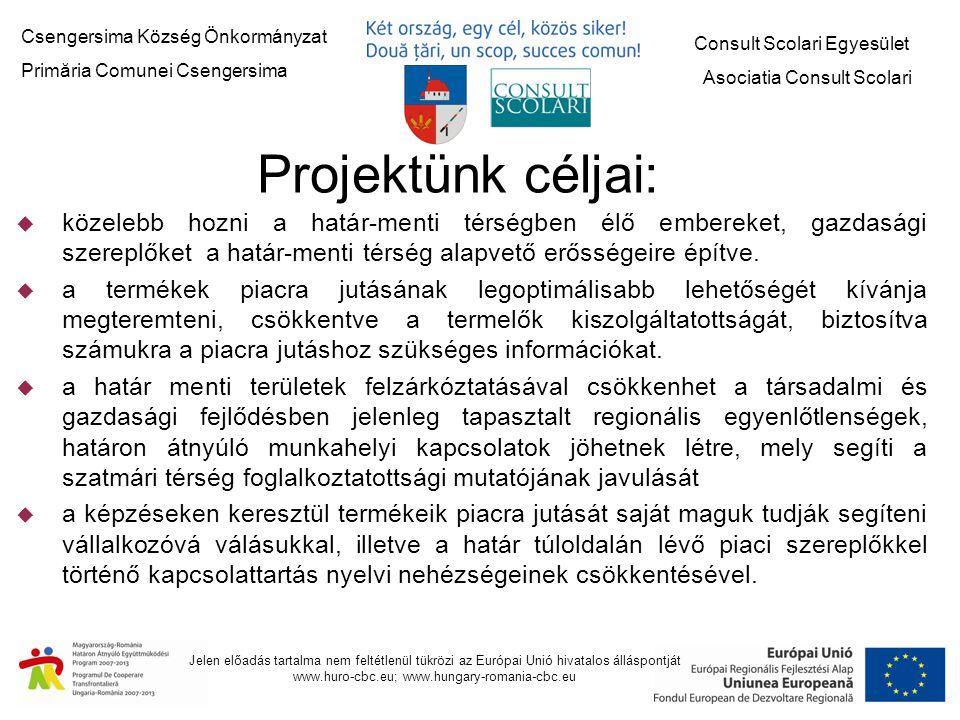 Csengersima Község Önkormányzat Primăria Comunei Csengersima Consult Scolari Egyesület Asociatia Consult Scolari Jelen előadás tartalma nem feltétlenül tükrözi az Európai Unió hivatalos álláspontját www.huro-cbc.eu; www.hungary-romania-cbc.eu Együttműködő partnerek - Csengersima Község Önkormányzata (4743 Csengersima, Kossuth u.