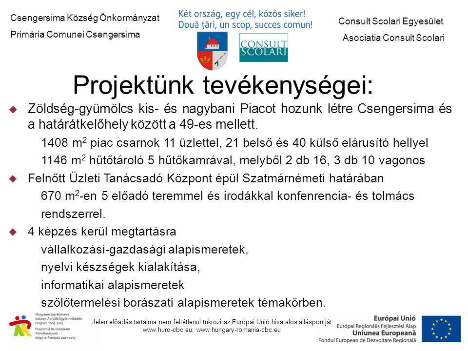 Jelen előadás tartalma nem feltétlenül tükrözi az Európai Unió hivatalos álláspontját www.huro-cbc.eu; www.hungary-romania-cbc.eu Képzési Központ Szatmárnémetiben Piaccsarnok és hűtőtárolók Csengersimában