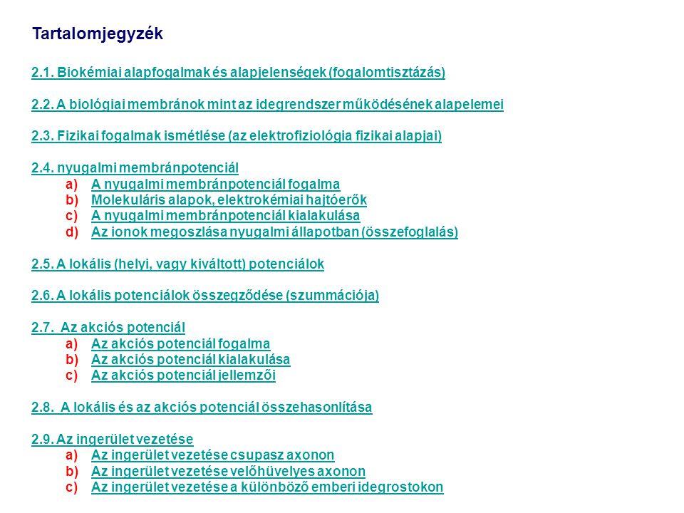 Tartalomjegyzék 2.1.Biokémiai alapfogalmak és alapjelenségek (fogalomtisztázás) 2.2.