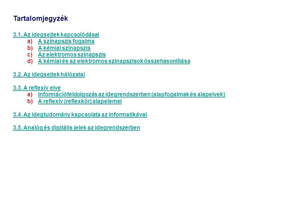Tartalomjegyzék 3.1. Az idegsejtek kapcsolódásai a)A szinapszis fogalmaA szinapszis fogalma b)A kémiai szinapszisA kémiai szinapszis c)Az elektromos s