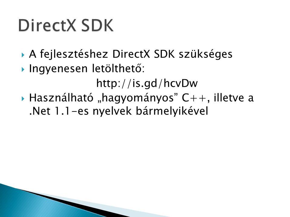 """ A fejlesztéshez DirectX SDK szükséges  Ingyenesen letölthető: http://is.gd/hcvDw  Használható """"hagyományos C++, illetve a.Net 1.1-es nyelvek bármelyikével"""