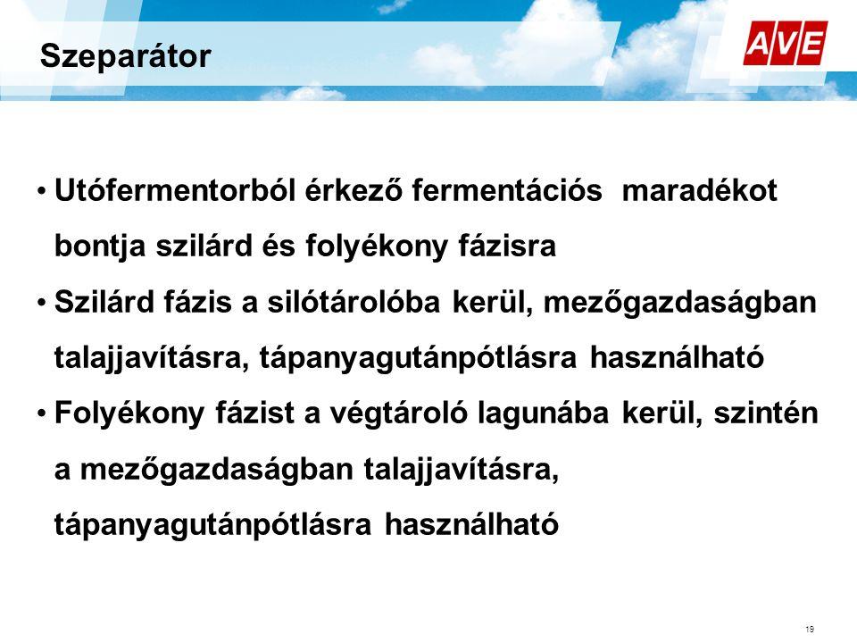 Szeparátor 19 • Utófermentorból érkező fermentációs maradékot bontja szilárd és folyékony fázisra • Szilárd fázis a silótárolóba kerül, mezőgazdaságba