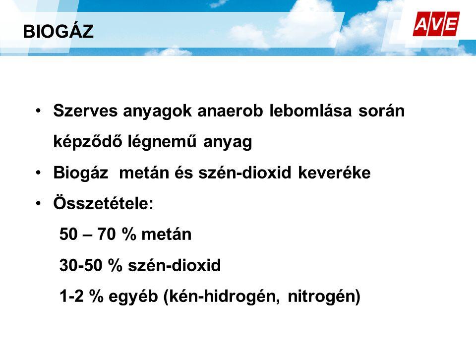 BIOGÁZ •Szerves anyagok anaerob lebomlása során képződő légnemű anyag •Biogáz metán és szén-dioxid keveréke •Összetétele: 50 – 70 % metán 30-50 % szén-dioxid 1-2 % egyéb (kén-hidrogén, nitrogén)