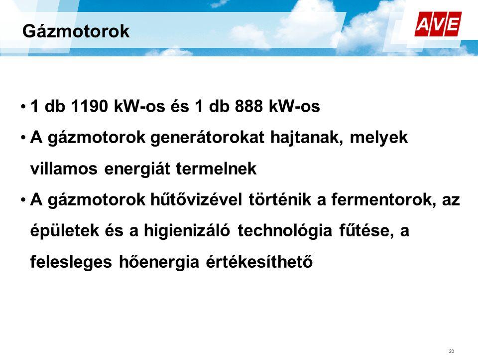 Gázmotorok 20 • 1 db 1190 kW-os és 1 db 888 kW-os • A gázmotorok generátorokat hajtanak, melyek villamos energiát termelnek • A gázmotorok hűtővizével