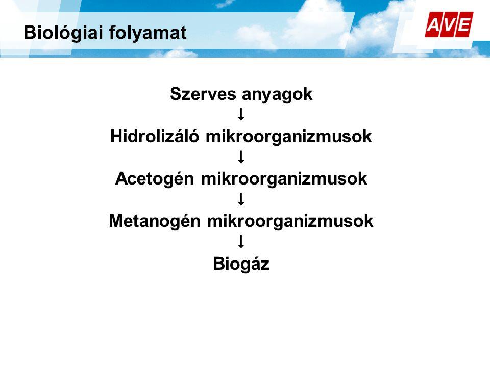 Szerves anyagok  Hidrolizáló mikroorganizmusok  Acetogén mikroorganizmusok  Metanogén mikroorganizmusok  Biogáz Biológiai folyamat