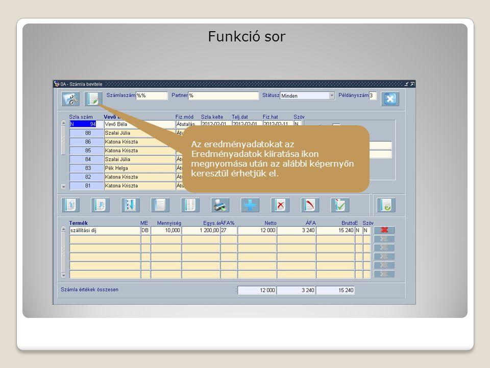 Funkció sor Az egyes gombok által jelzett menüpontokhoz és az adatok kiíratásához kapcsolódó leírást annak képernyőjére lehet elérni.