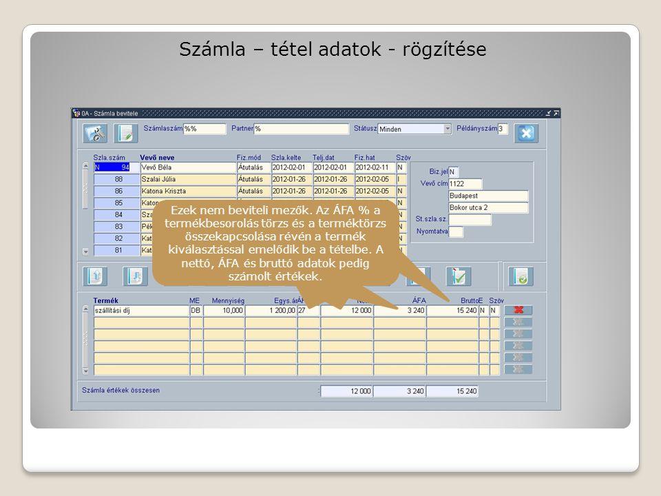 Számla – tétel adatok - rögzítése Ezek nem beviteli mezők.