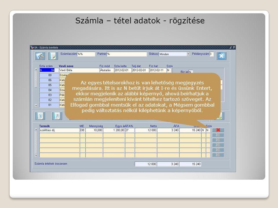 Számla – tétel adatok - rögzítése Az egyes tételsorokhoz is van lehetőség megjegyzés megadására.