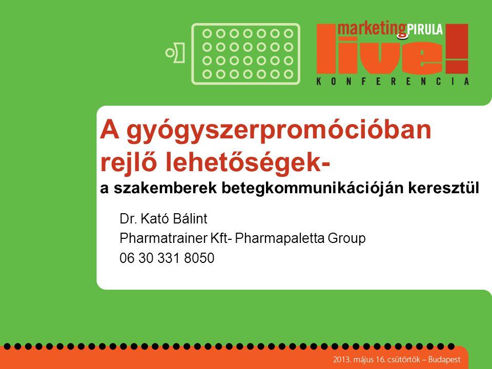 A gyógyszerpromócióban rejlő lehetőségek- a szakemberek betegkommunikációján keresztül Dr. Kató Bálint Pharmatrainer Kft- Pharmapaletta Group 06 30 33
