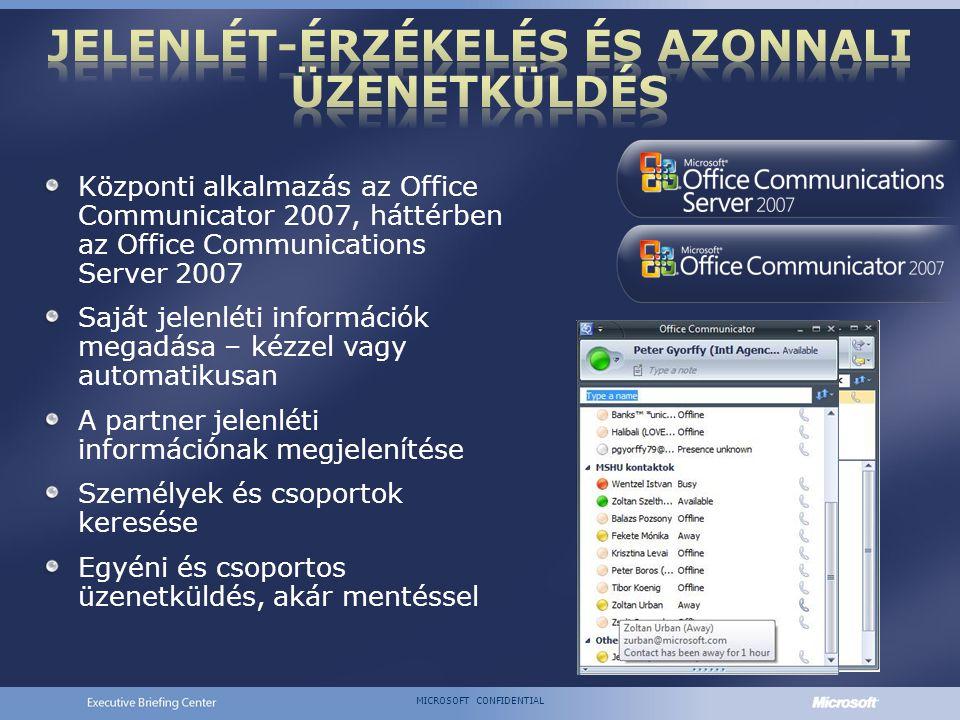 MICROSOFT CONFIDENTIAL Központi alkalmazás az Office Communicator 2007, háttérben az Office Communications Server 2007 Saját jelenléti információk megadása – kézzel vagy automatikusan A partner jelenléti információnak megjelenítése Személyek és csoportok keresése Egyéni és csoportos üzenetküldés, akár mentéssel