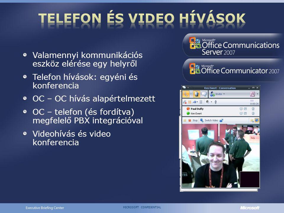 MICROSOFT CONFIDENTIAL Valamennyi kommunikációs eszköz elérése egy helyről Telefon hívások: egyéni és konferencia OC – OC hívás alapértelmezett OC – telefon (és fordítva) megfelelő PBX integrációval Videohívás és video konferencia