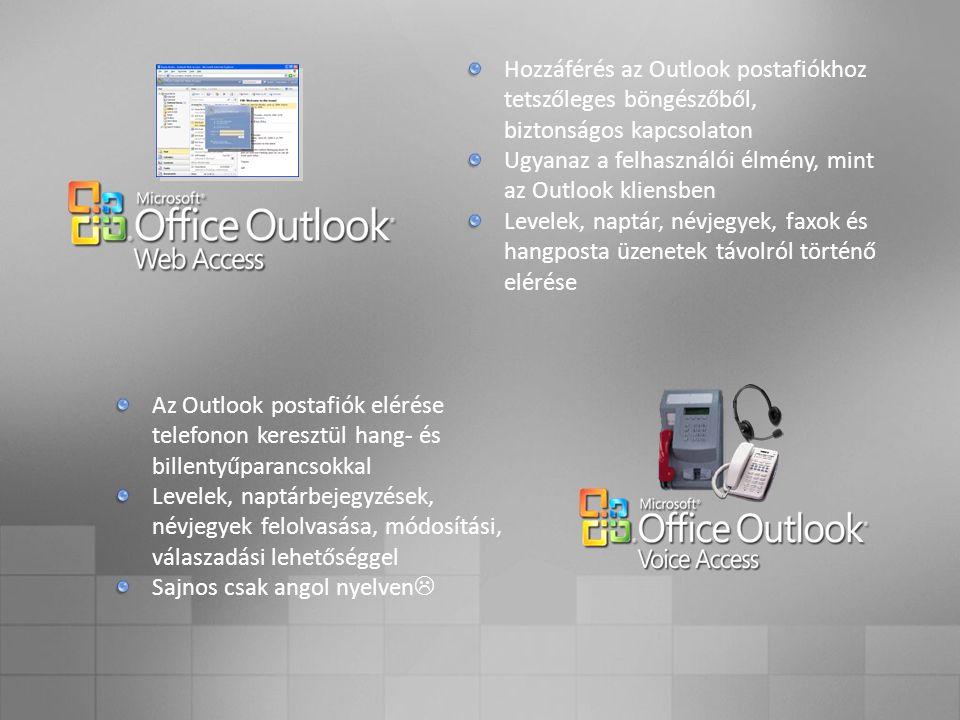 Hozzáférés az Outlook postafiókhoz tetszőleges böngészőből, biztonságos kapcsolaton Ugyanaz a felhasználói élmény, mint az Outlook kliensben Levelek, naptár, névjegyek, faxok és hangposta üzenetek távolról történő elérése Az Outlook postafiók elérése telefonon keresztül hang- és billentyűparancsokkal Levelek, naptárbejegyzések, névjegyek felolvasása, módosítási, válaszadási lehetőséggel Sajnos csak angol nyelven 