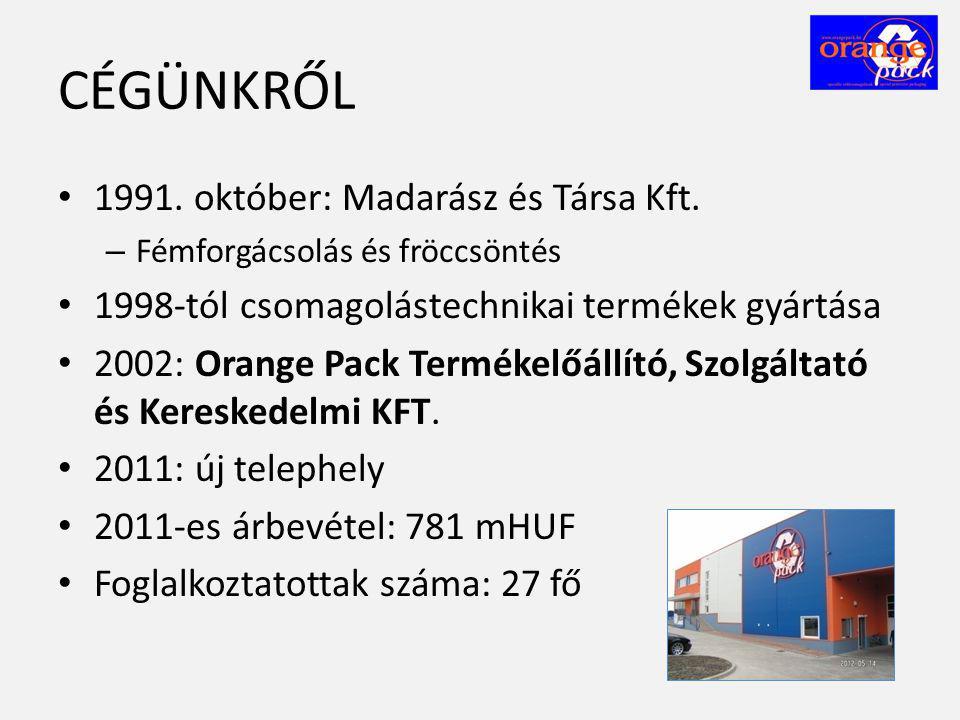 CÉGÜNKRŐL • 1991. október: Madarász és Társa Kft. – Fémforgácsolás és fröccsöntés • 1998-tól csomagolástechnikai termékek gyártása • 2002: Orange Pack