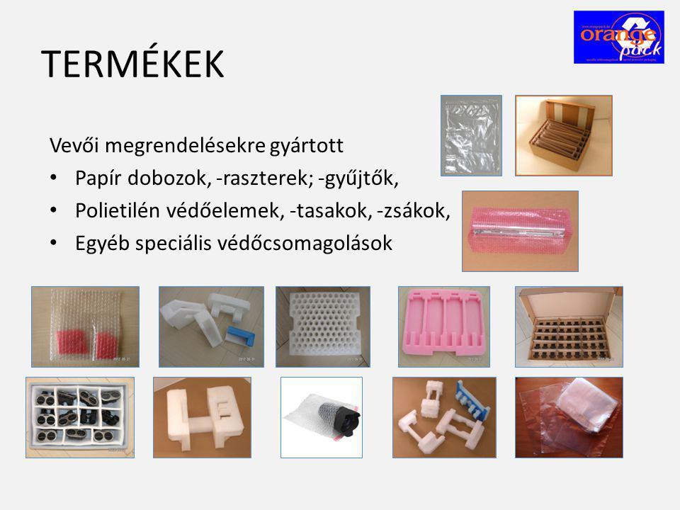 TERMÉKEK Vevői megrendelésekre gyártott • Papír dobozok, -raszterek; -gyűjtők, • Polietilén védőelemek, -tasakok, -zsákok, • Egyéb speciális védőcsoma