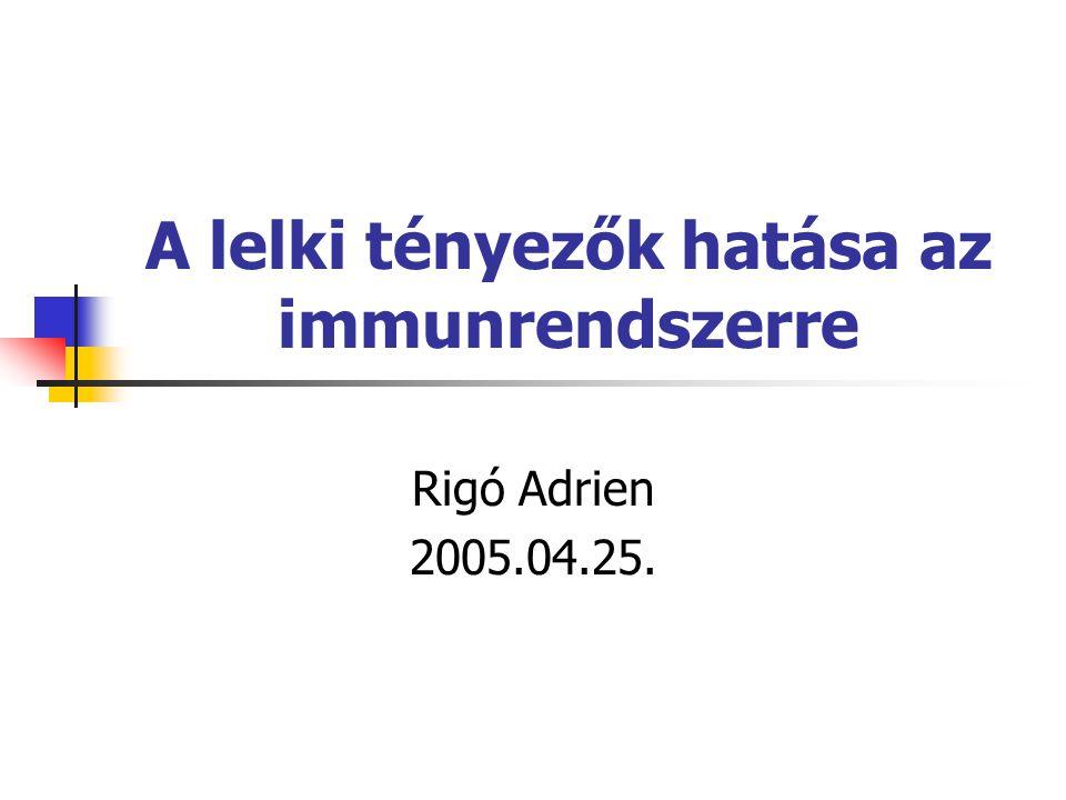 A lelki tényezők hatása az immunrendszerre Rigó Adrien 2005.04.25.