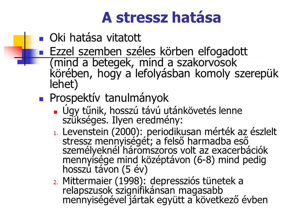 A stressz hatása  Oki hatása vitatott  Ezzel szemben széles körben elfogadott (mind a betegek, mind a szakorvosok körében, hogy a lefolyásban komoly szerepük lehet)  Prospektív tanulmányok  Úgy tűnik, hosszú távú utánkövetés lenne szükséges.