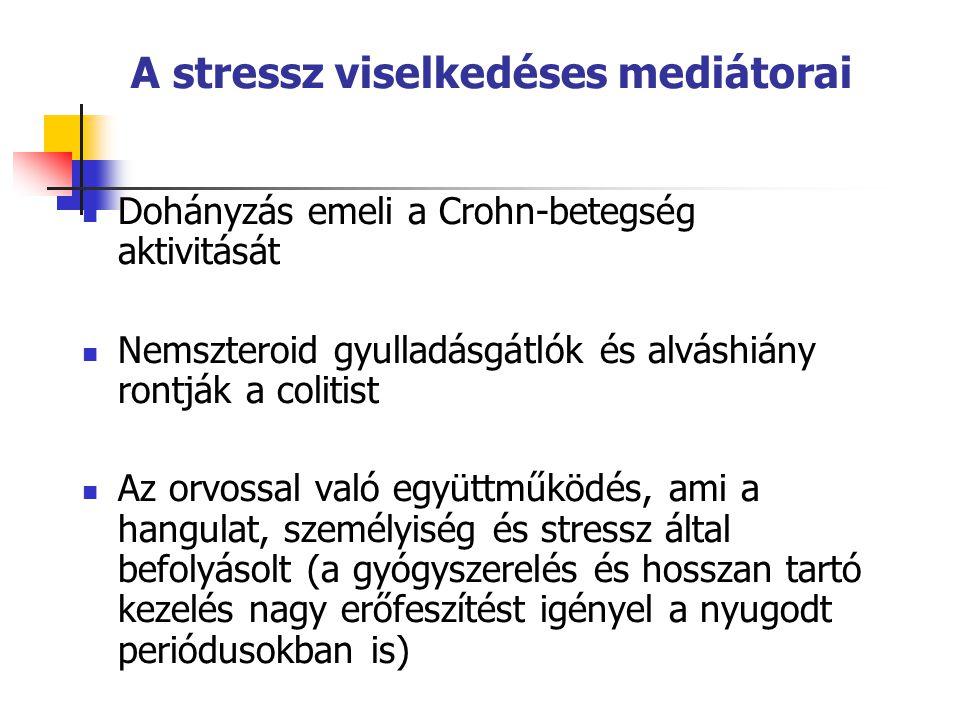 A stressz viselkedéses mediátorai  Dohányzás emeli a Crohn-betegség aktivitását  Nemszteroid gyulladásgátlók és alváshiány rontják a colitist  Az orvossal való együttműködés, ami a hangulat, személyiség és stressz által befolyásolt (a gyógyszerelés és hosszan tartó kezelés nagy erőfeszítést igényel a nyugodt periódusokban is)