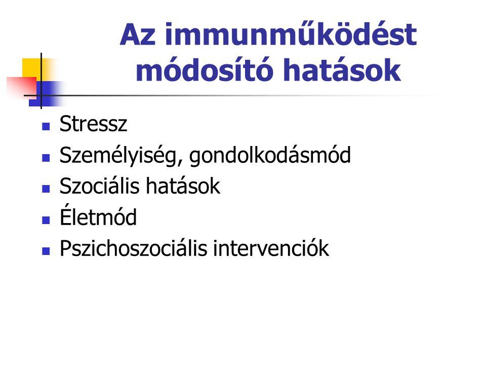 Az immunműködést módosító hatások  Stressz  Személyiség, gondolkodásmód  Szociális hatások  Életmód  Pszichoszociális intervenciók