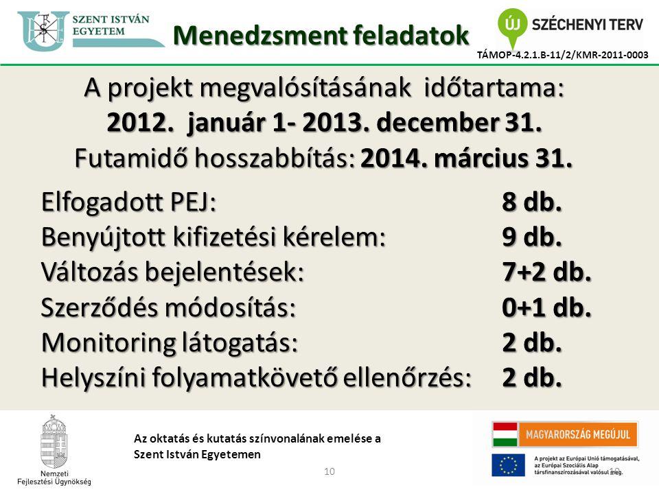 10 TÁMOP-4.2.1.B-11/2/KMR-2011-0003 Az oktatás és kutatás színvonalának emelése a Szent István Egyetemen Menedzsment feladatok A projekt megvalósításának időtartama: 2012.