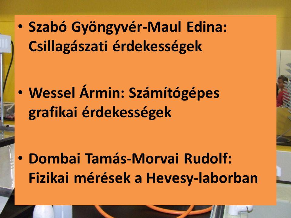 • Szabó Gyöngyvér-Maul Edina: Csillagászati érdekességek • Wessel Ármin: Számítógépes grafikai érdekességek • Dombai Tamás-Morvai Rudolf: Fizikai méré