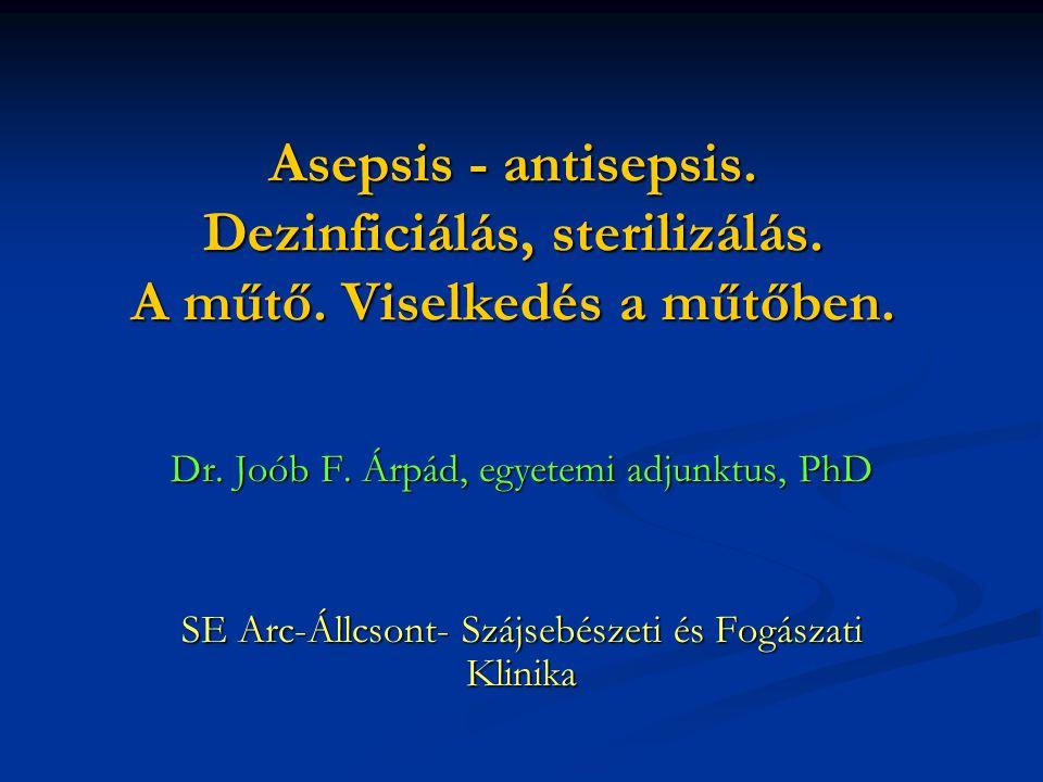 Asepsis - antisepsis.Dezinficiálás, sterilizálás.