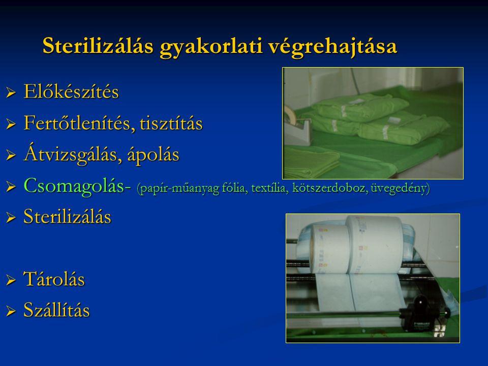 Sterilizálás gyakorlati végrehajtása  Előkészítés  Fertőtlenítés, tisztítás  Átvizsgálás, ápolás  Csomagolás- (papír-műanyag fólia, textília, kötszerdoboz, üvegedény)  Sterilizálás  Tárolás  Szállítás