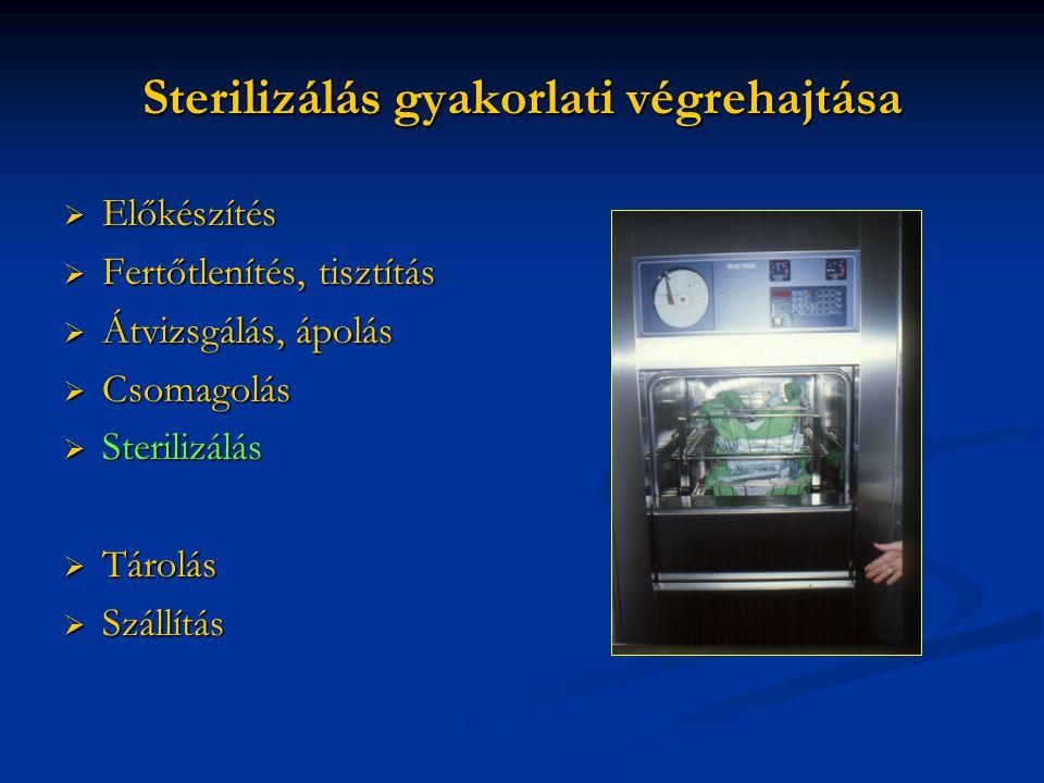 Sterilizálás gyakorlati végrehajtása  Előkészítés  Fertőtlenítés, tisztítás  Átvizsgálás, ápolás  Csomagolás  Sterilizálás  Tárolás  Szállítás