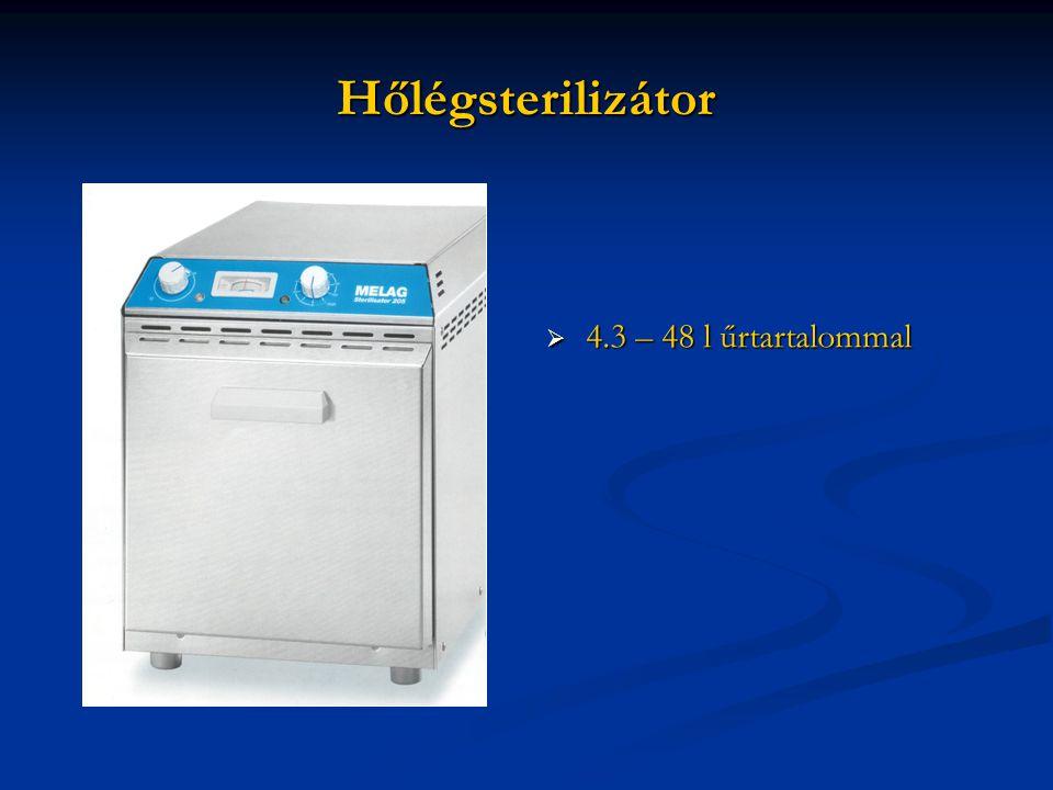 Hőlégsterilizátor  4.3 – 48 l űrtartalommal