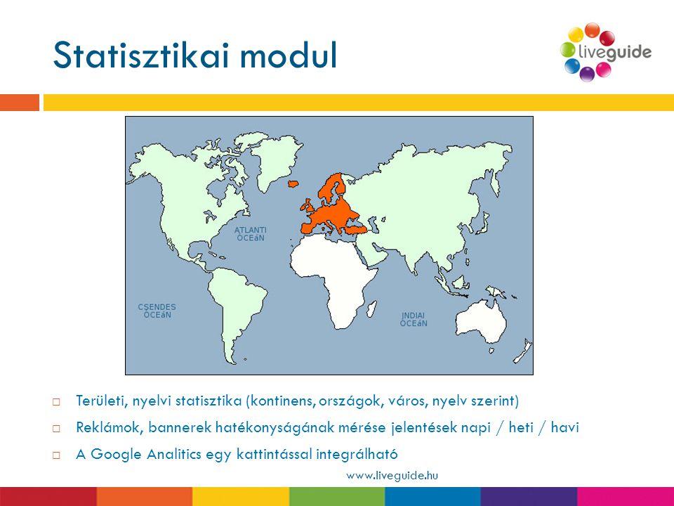 Statisztikai modul www.liveguide.hu  Területi, nyelvi statisztika (kontinens, országok, város, nyelv szerint)  Reklámok, bannerek hatékonyságának mé