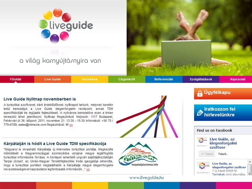 Hírkezelő www.liveguide.hu  Önállóan, teljes egészében szerkeszthető hírek  Képek, videók, linkek hozzárendelése  Nyomtatható verzió beállítása  H