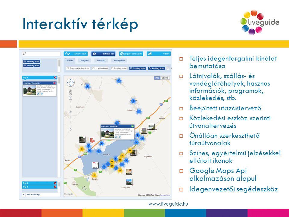Interaktív térkép www.liveguide.hu  Teljes idegenforgalmi kínálat bemutatása  Látnivalók, szállás- és vendéglátóhelyek, hasznos információk, program
