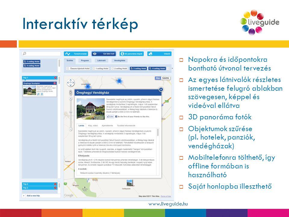 Interaktív térkép www.liveguide.hu  Napokra és időpontokra bontható útvonal tervezés  Az egyes látnivalók részletes ismertetése felugró ablakban szö