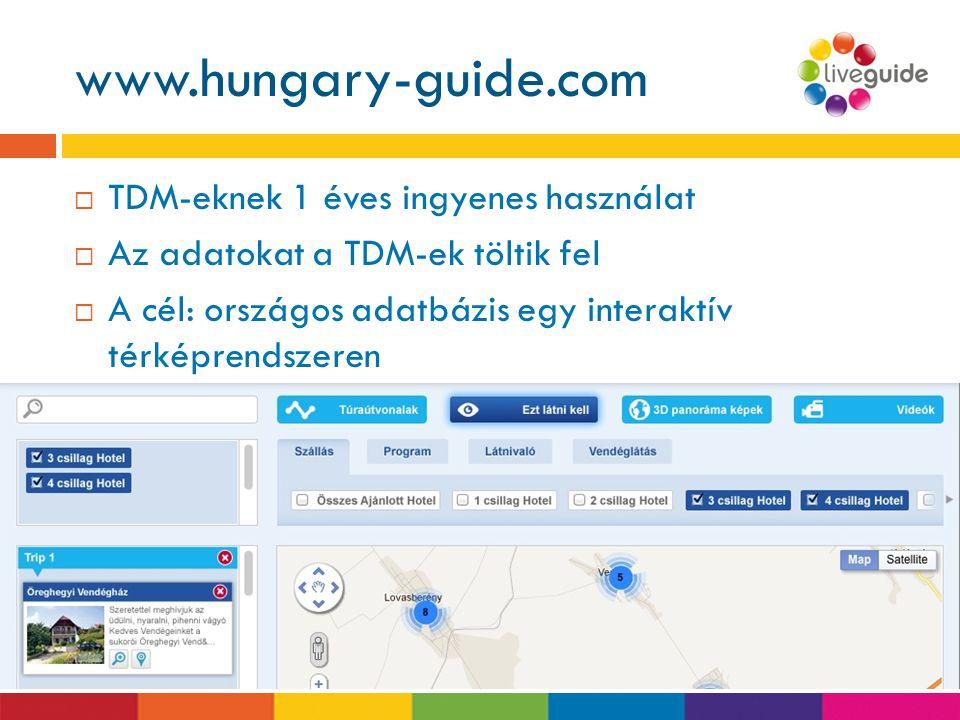 www.hungary-guide.com www.liveguide.hu  TDM-eknek 1 éves ingyenes használat  Az adatokat a TDM-ek töltik fel  A cél: országos adatbázis egy interak