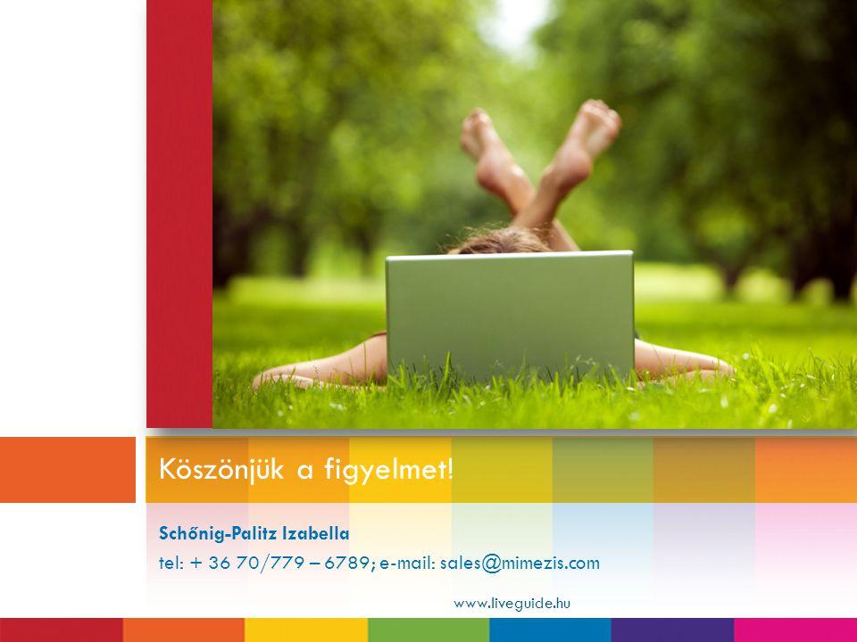 Schőnig-Palitz Izabella tel: + 36 70/779 – 6789; e-mail: sales@mimezis.com Köszönjük a figyelmet! www.liveguide.hu