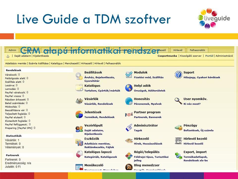 Live Guide a TDM szoftver  Alkalmas a TDM modellek informatikai megjelenítésére, kezelésére települési, térségi, regionális és országos szinten is. 