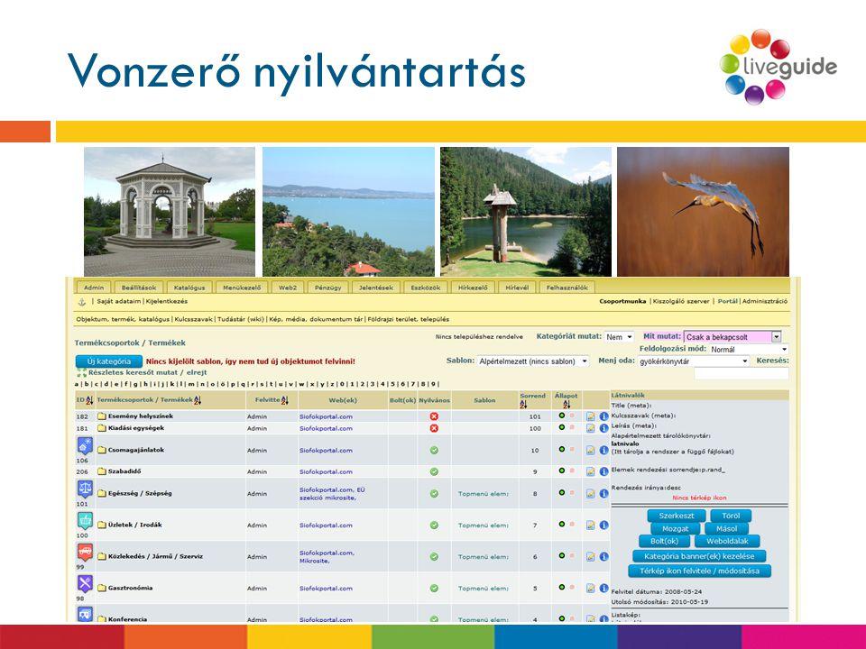 Vonzerő nyilvántartás www.liveguide.hu  Idegenforgalmi szemléletű  témák szerint rendszerezett tartalom, pl.  Szálláshely típusa, kategóriája  Ell