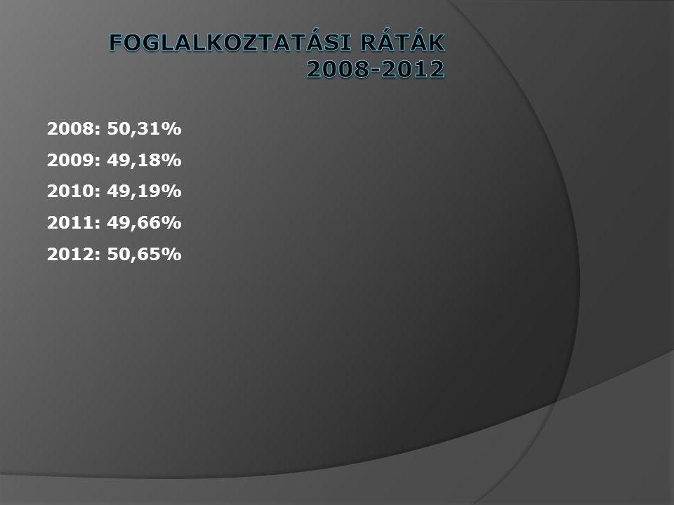 2008: 50,31% 2009: 49,18% 2010: 49,19% 2011: 49,66% 2012: 50,65%
