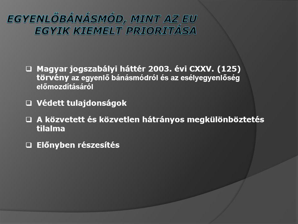  Magyar jogszabályi háttér 2003.évi CXXV.
